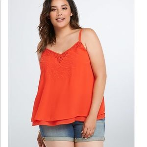 Red Embroidered Chiffon Torrid Tank